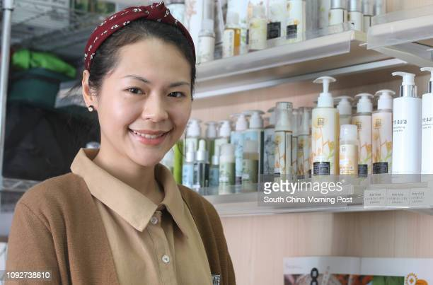 Kaya Kwok Yiki founder of The Preface which sells organic skincare products and encourages customers to bring their own bottles room 1327 13f Berkely...