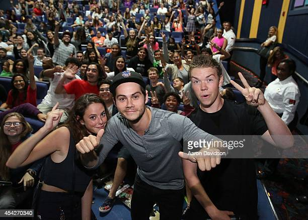 Kaya Scodelario Dylan O'Brien and Will Poulter attend The MAZE Runner Miami at Regal South Beach on August 27 2014 in Miami Florida