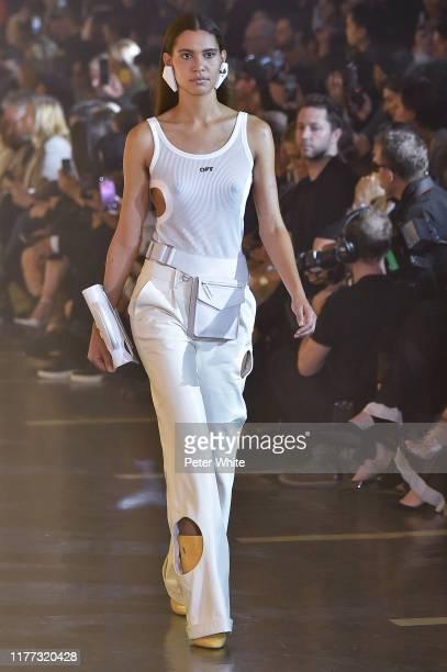 Kaya Wilkins walks the runway during the Off-White Womenswear Spring/Summer 2020 show as part of Paris Fashion Week on September 26, 2019 in Paris,...