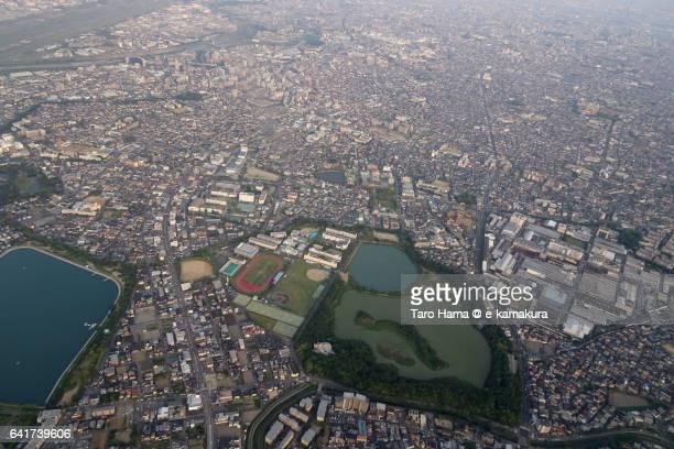 kayaike park aerial view from airplane - 大阪国際空港 ストックフォトと画像