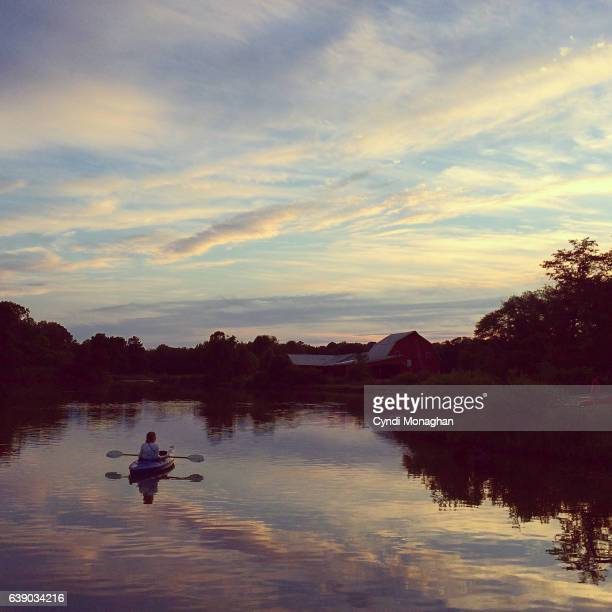 Kayak Beneath the Sunset Sky