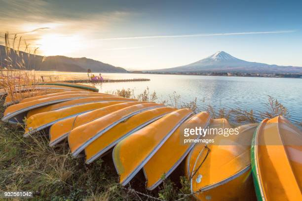 kayak Boat in Kawaguchiko lake at Fuji Mountain