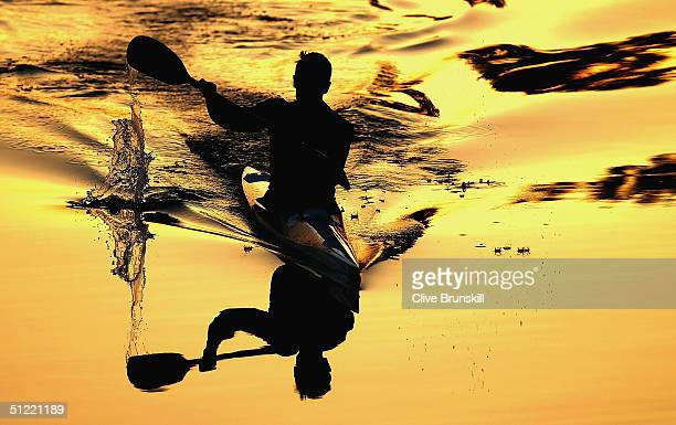 A kayak competitor is pictured during early morning practice prior to the men's K1 class 500 metre semifinal on August 26 2004 during the Athens 2004...