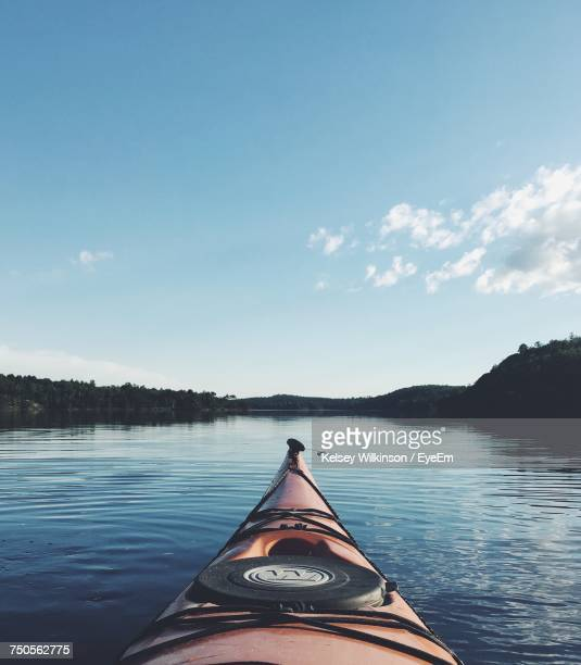 kayak on lake in canada - sudbury canada stock photos and pictures