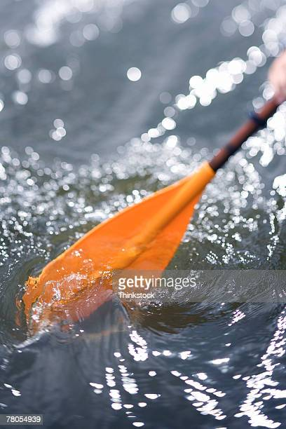 Kayak paddle in turbulent water