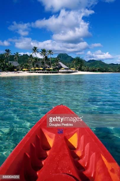 Kayak Pointing Toward Beach Resort