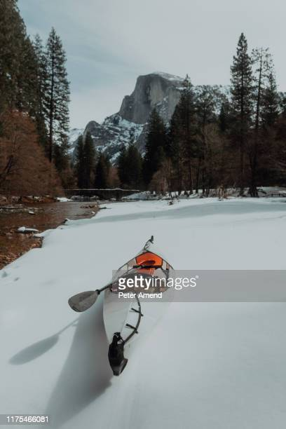 kayak with oar moored on snow, yosemite village, california, united states - peter snow stock pictures, royalty-free photos & images