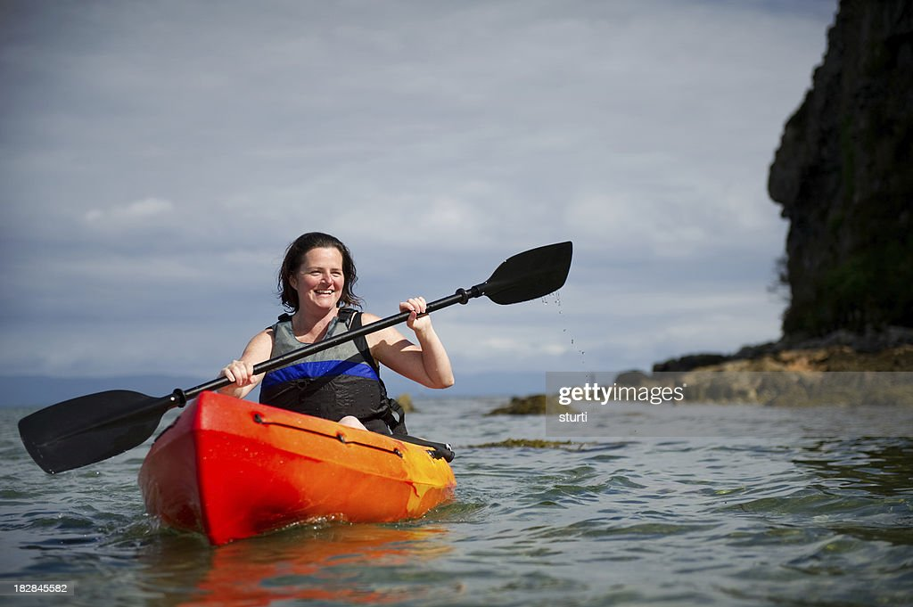 kayak woman stock photo getty images