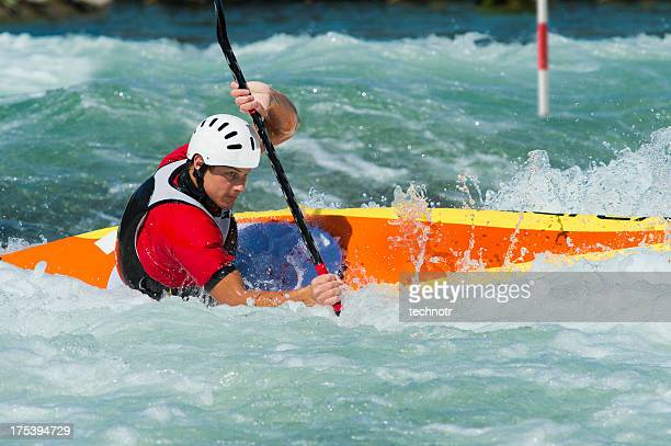 kayaker at the red gate - swift river stock photos and pictures