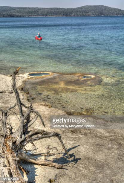 kayaker floating in west yellowstone lake as seem from west thumb - mary lake stock photos and pictures