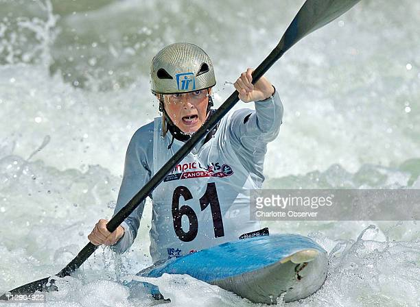 Kayaker Heather Corrie keeps focused on an upcoming downstream gate on the competition channel at the US National Whitewater Center in Charlotte NC...