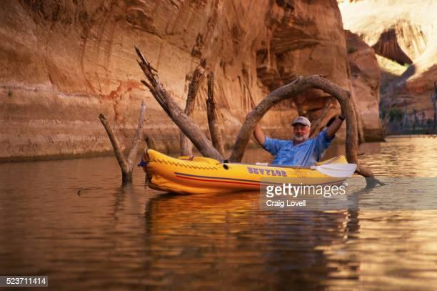 kayaker holding branches of tree in the water - powellmeer stockfoto's en -beelden