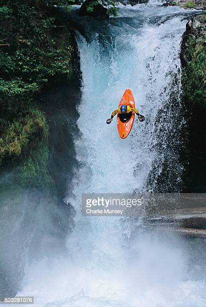 Kayaker Maneuvering Over Spirit Falls