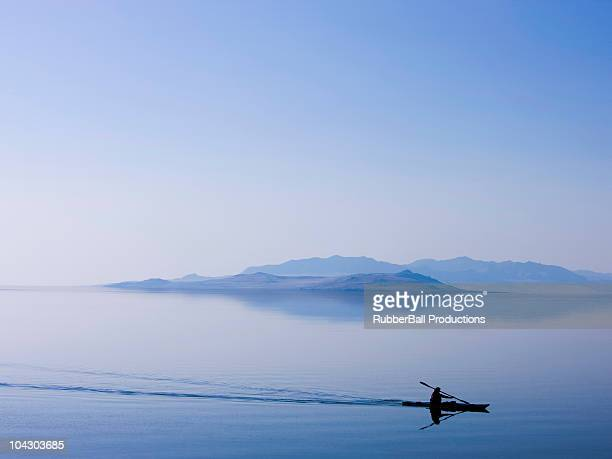 kayaker on a lake - great salt lake stock pictures, royalty-free photos & images