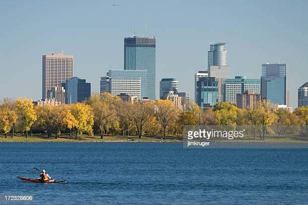 Kayaker on Lake Calhoun in Minneapolis, Minnesota.