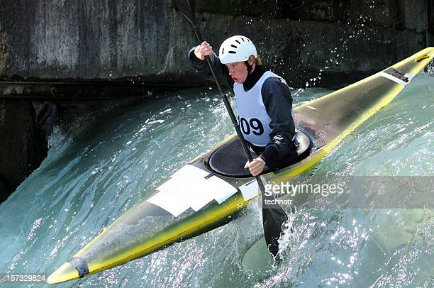 kayaker - swift river stock photos and pictures