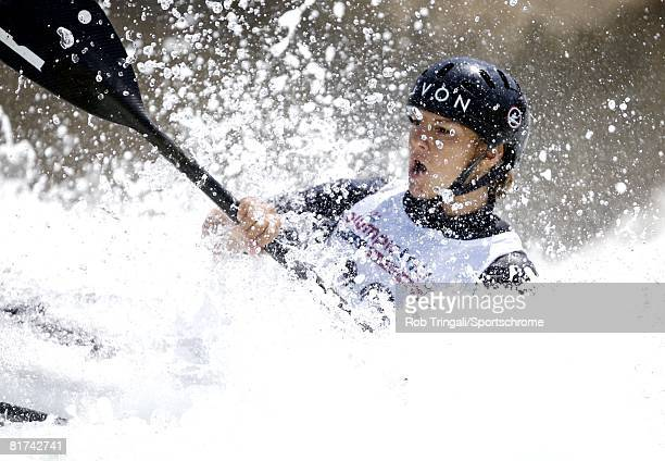 Kayaker Poliana Aparecida DePaula of Brazilcompetes in the Women's K1 Kayak single event during the Olympic Team trials for Whitewater Slalom at the...