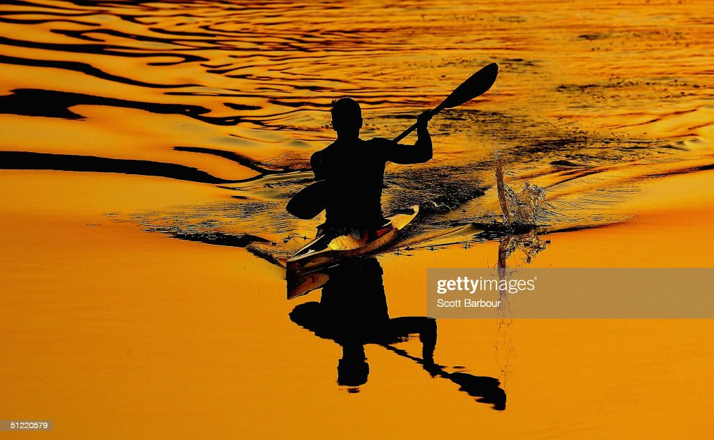 A kayaker warms up before the men's K-1 500 metre semifinal on August 26, 2004 during the Athens 2004 Summer Olympic Games at the Schinias Olympic Rowing and Canoeing Centre in Athens, Greece.