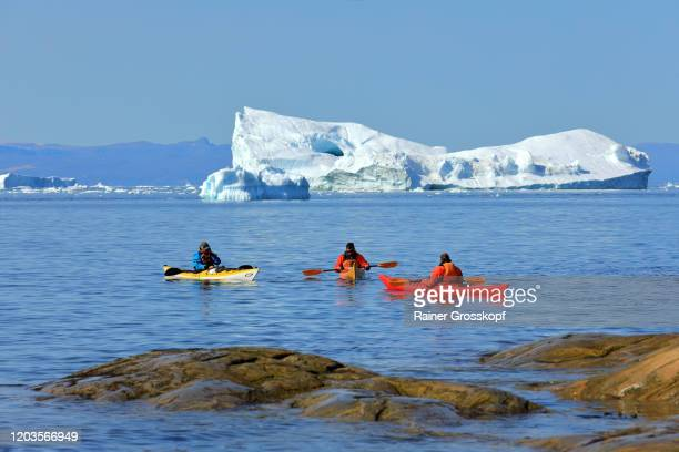 kayakers near an iceberg close to the coast - rainer grosskopf foto e immagini stock