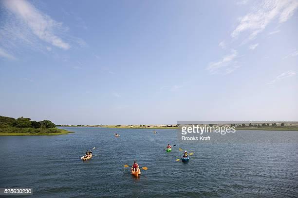 Kayakers on Chappaquiddick a small island adjacent to Martha's Vineyard