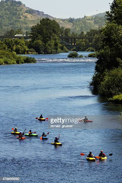 kayakers on the willamette river - eugene oregon stock pictures, royalty-free photos & images