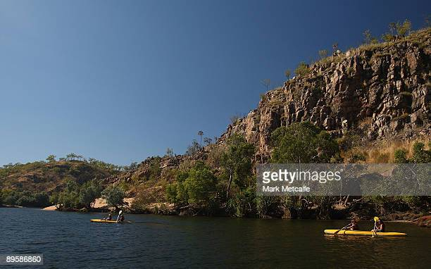 Kayakers paddle up Katherine Gorge on August 4 2009 in the Northern Territory Australia The commemorative trip from Adelaide to Darwin celebrates the...