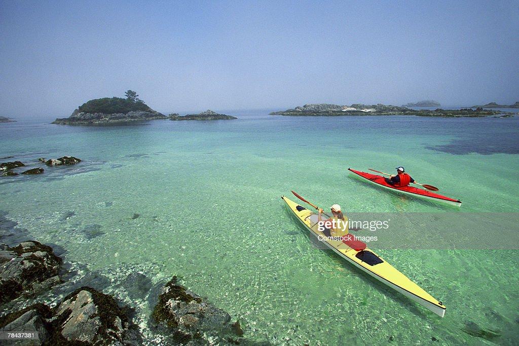 Kayakers : Stockfoto