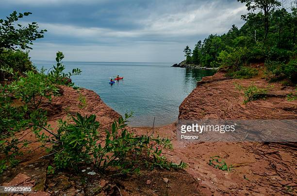 kayaking at little presque isle - upper peninsula stock pictures, royalty-free photos & images