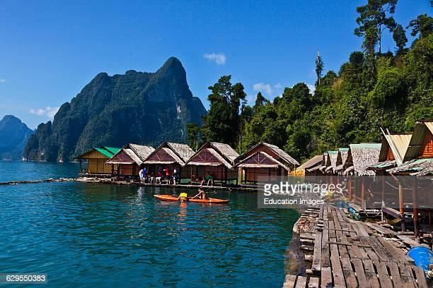 Kayaking At Nang Prai Raft House On Cheow En Lake In The Khao Sok National Park Thailand
