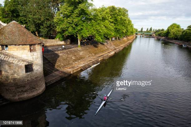 kayaking at ouse river in york, united kingdom - ouse river stock photos and pictures