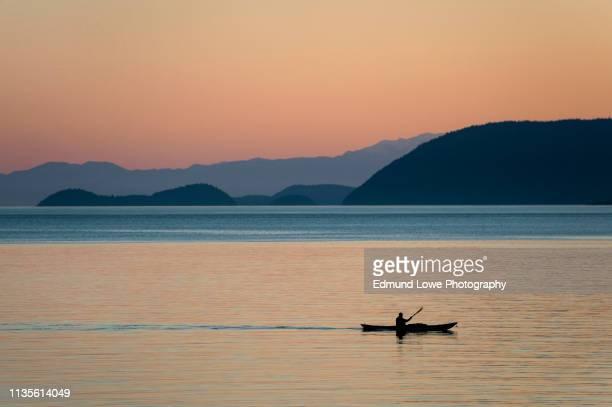 kayaking at sunset through the san juan islands of washington state. - paddling stock pictures, royalty-free photos & images