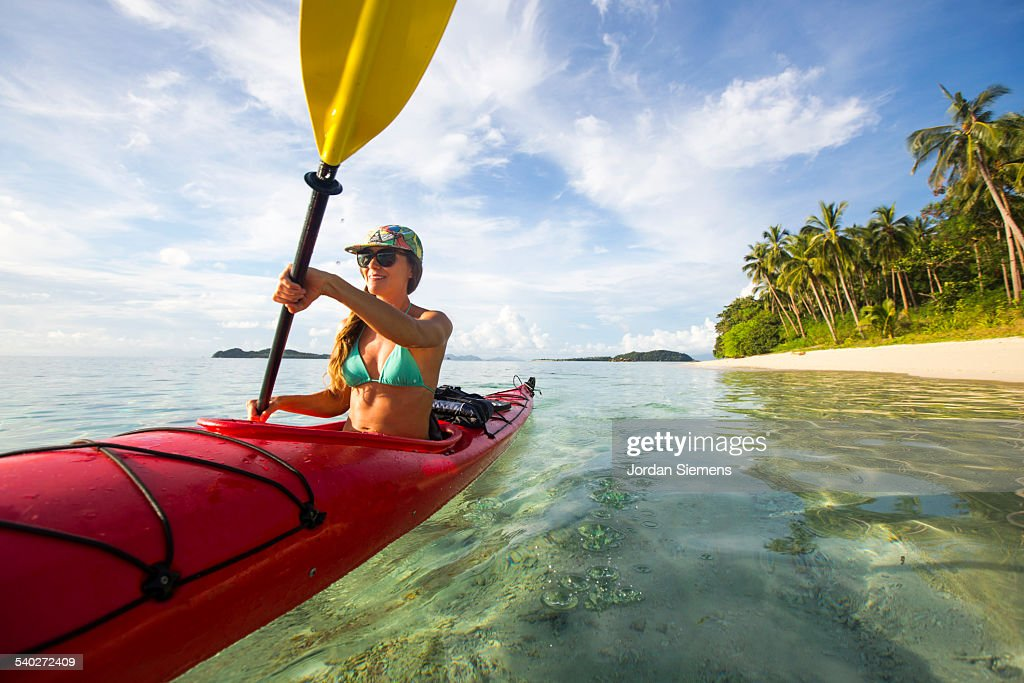 Kayaking excursion through the Philippines : Stock Photo