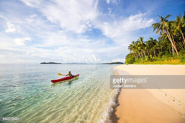 kayaking excursion through the philippines - palawan stock pictures, royalty-free photos & images