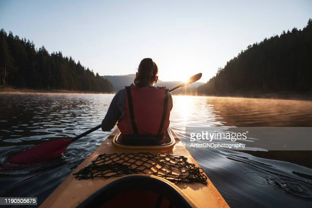 kayaking in nature. - kayak foto e immagini stock