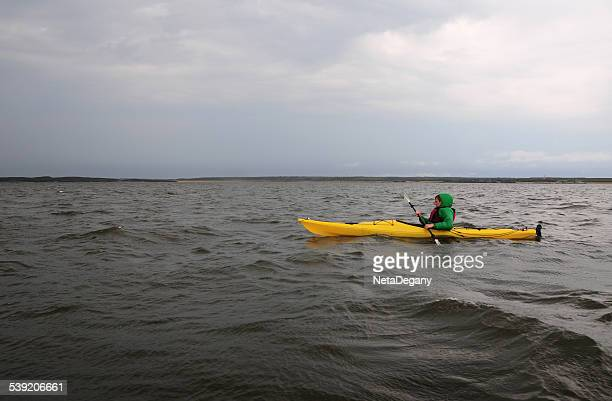 kayaking in the hudson bay, near churchill manitoba - hudson bay stock photos and pictures