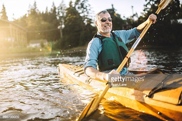 kayaking in the pacific northwest - 50 54 years stock pictures, royalty-free photos & images