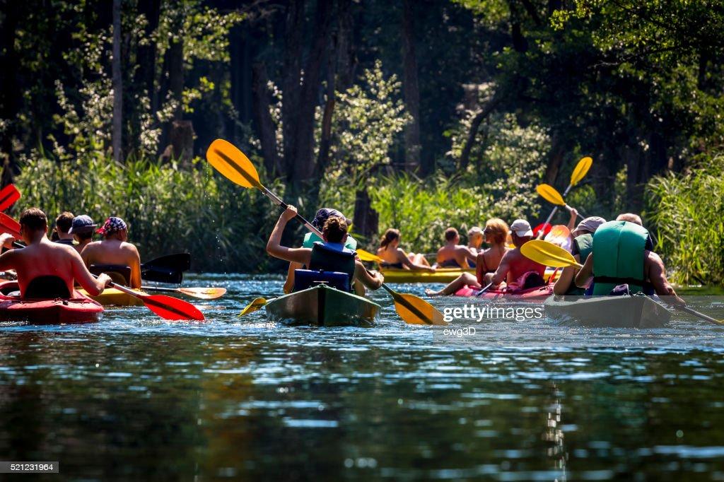 Kayaking on the river Krutynia, Poland : Stock Photo