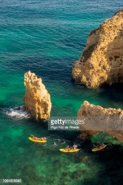 Kayaks in Ponta da Piedade, Lagos, Algarve, Portugal.