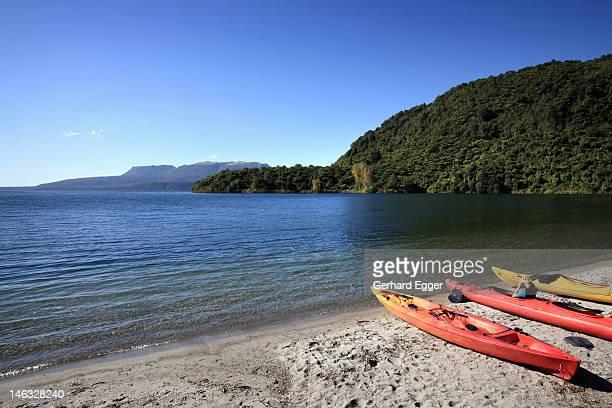 Kayaks on beach, Lake Tarawera, Rotorua