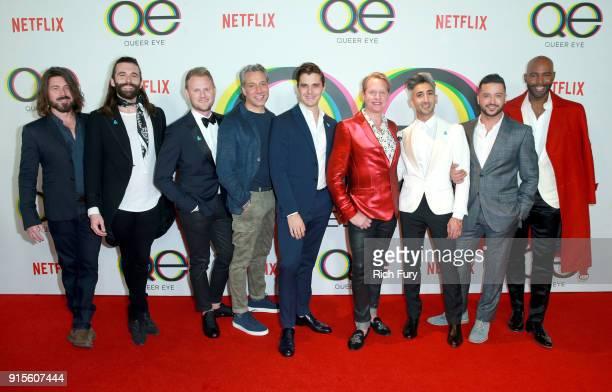 Kayan Douglas Jonathan Van Ness Bobby Berk Thom Filicia Antoni Porowski Carson Kressley Tan France Jai Rodriguez and Karamo Brown attend Netflix's...