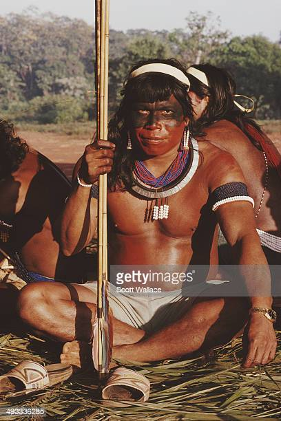 A Kayapo warrior with a bow and arrows in the Amazon Basin Brazil 1992