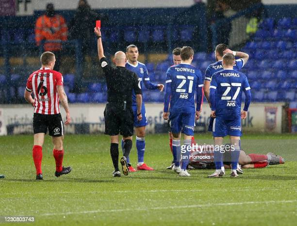 Kayden Jackson of Ipswich is sent off during the Sky Bet League One match between Ipswich Town and Sunderland at Portman Road on January 26, 2021 in...