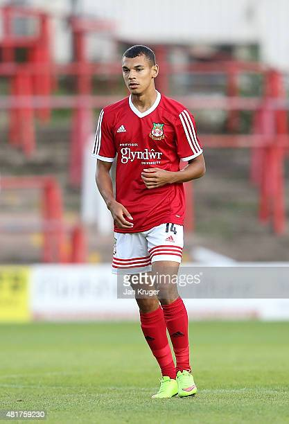 Kayden Jackson of Wrexham during the pre season friendly match between Wrexham and Stoke City at Racecourse Ground on July 22 2015 in Wrexham Wales
