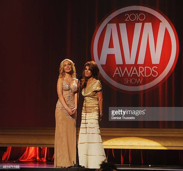 Kayden Kross and Kirsten Price host the 2010 AVN Awards at The Palms Casino Resort on January 9 2010 in Las Vegas Nevada