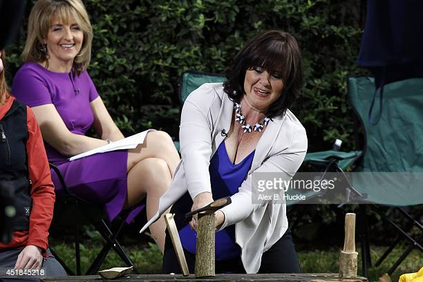 Kaye Adams and Coleen Nolan seen on The Southbank during filming 'Loose Women' on July 8 2014 in London England
