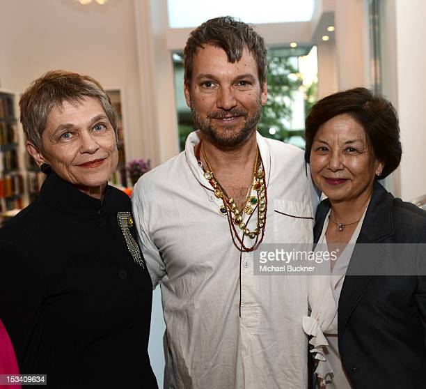 Kaye Spilker designer Johnson Hartig and Sharon Takeda attend the Director's Circle Celebration of WEAR LACMA Inaugural Designs by Johnson Hartig For...