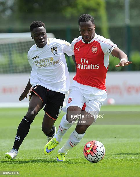 Kayeln Hinds of Arsenal during the pre season friendly match between Arsenal U21 and AFC Bournemouth U21 at London Colney on July 11 2015 in St...