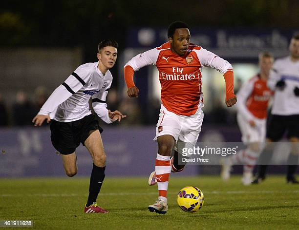 Kayeln Hinds of Arsenal is takes on Jay Taylor of Royston during the match between Arsenal U18 and Royston Town U18 in the FA Youth Cup 4th Round at...