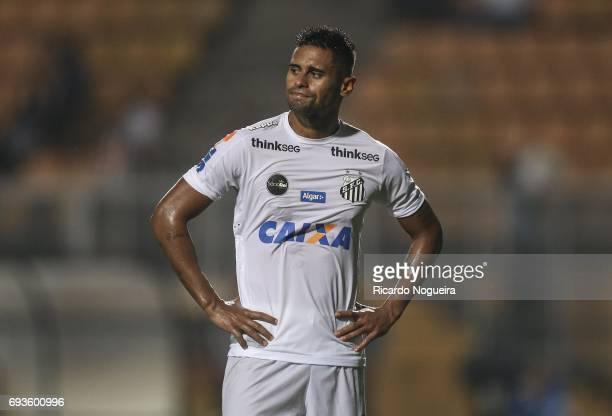 Kayke of Santos reacts after missing a goal during the match between Santos and Botafogo as a part of Campeonato Brasileiro 2017 at Pacaembu Stadium...