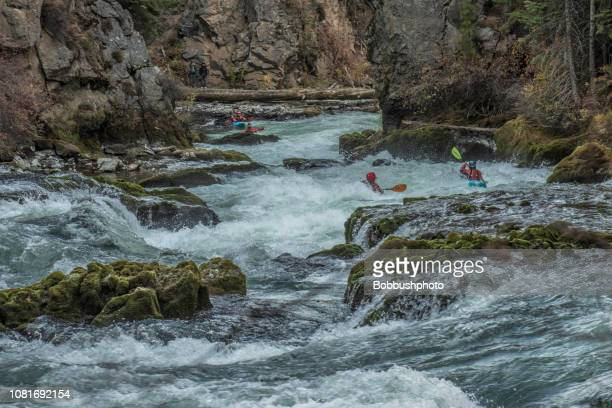 kayking white water rapids of benham falls on the deschutes river near bend, oregon - national forest stock pictures, royalty-free photos & images